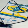Памятно-наградной вымпел для хоккейного клуба «Дизель». Атлас, шелкотрафаретная печать по текстилю, обработка декоративный шнур по периметру